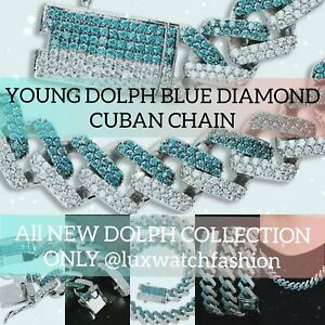 Hottest New Young Dolph Style Blue VVS1 Lab Diamond Miami Cuban Chain