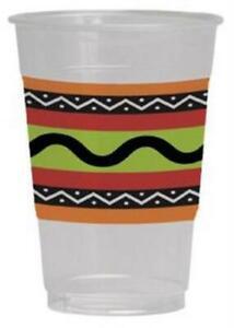 Fiesta Stripes 16 oz Plastic Cups 8 Pack Birthday Fiesta Mexican Decoration