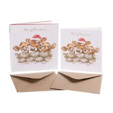 "Wrendale Designs Christmas Card Box Set of 8 Cards ""The Christmas Calves"""