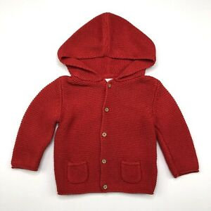 Baby Girls NEXT 6-9 Months Casual Red Knitted Hooded Button Cardigan