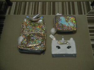 NWT JUSTICE GIRLS GOLD UNICORN FLIP SEQUIN BACKPACK LUNCH TOTE PENCIL CASE
