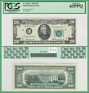 1969 Philadelphia $20 Federal Reserve Note PCGS 65 PPQ Gem New Uncirculated FRN