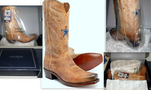 NWB MENS LUCCHESE DC DALLAS COWBOYS M3422.74 BROWN LEATHER GOAT BOOTS SIZE 10D