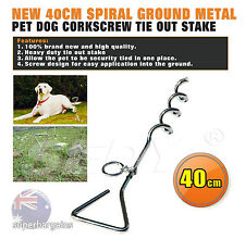 Chrome Plated Corkscrew Cable Spiral Tie Out Stake Dog Pet Garden Anchor Spike