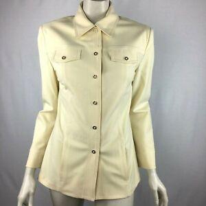 St John Sport by Marie Gray Yellow Gold Snap Up Blazer Jacket Pocket Women P 2