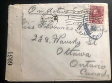 1916 Canadian Army PO In France Censored Cover OAS To Ottawa Canada