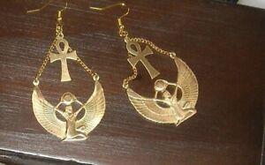 Brass Isis Egyptian Goddess Earrings Egyptian Jewelry Egyptian Earring