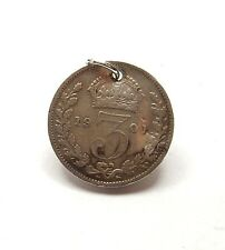 Antique Victorian 925 Sterling Silver 1901 THREE PENCE 3P COIN Charm 1.4g