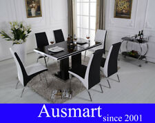 135cm Glass Top Dining Table With 4 Chairs | Postage to Melbourne Metro