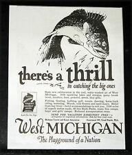 1924 OLD MAGAZINE PRINT AD, WEST MICHIGAN, THRILL IN CATCHING THE BIG ONE, FISH!