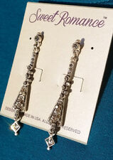 SWEET ROMANCE Jewelry Earrings Art Deco style tapered pendant set crystals E935