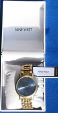 Nine West Women's Nw/1694blgb Blue Sunray Dial Gold-tone Watch