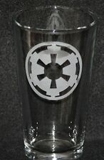Star Wars Imperial Cog Empire Symbol Custom Etched Pint Glass