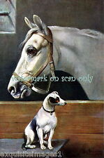 Antique Art~Fox Terrier Dog with White Horse in Stable~ New Large Note Cards
