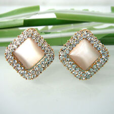 Gp Crystal Clip-stand Stud Earrings Bh2706 Navachi Opal Square 18K Yellow Gold