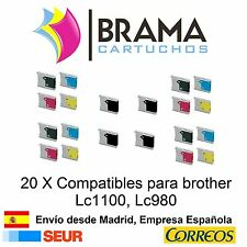 20 x compatibles Brother Non-oem para Lc980 Lc1100c DCP 385C DCP 395CN DCP 585CW