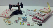 Dollhouse Miniature Sewing Machine & Fabric Bolt Set #2 1:12 One Inch Scale H98