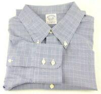 Brooks Brothers 1818 Regent Dress Shirt 17.5 - 34 Blue Glen Plaid Non Iron
