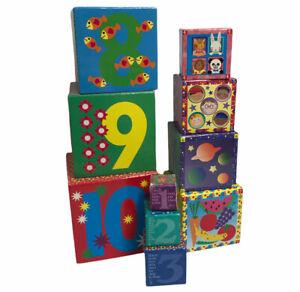 Melissa & Doug Alphabet Nesting & Stacking Toy Blocks Cardboard Boxes Building