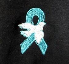 Teal Ribbon Hoodie S Cancer Cause Awareness White Dove Black Sweatshirt New