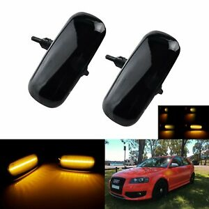 Pair For 2000-08 Audi A3 8P A4 A6 A8 Dynamic LED Side Indicator Repeater Lights