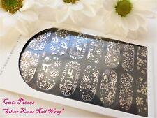 Nail Art Self Adhesive Full Nail Polish Wrap Sticker Silver Snowflakes Xmas 50x
