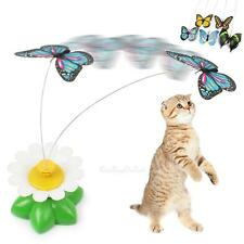Funny Play Pet Cat Kitten Toys Electric Rotating Flower Butterfly Rod Teaser Toy