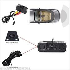 12V 3in1 Wide Angle Car Pickup 2 Parking Reverse Backup Radar Sensor HD Camera