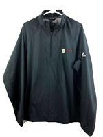 Adidas ClimaProof Golf Jacket Mens Medium Black 1/2 Zip Stretch Polyester Euc