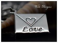 Romantic Love Letter Charm Engraved Antiqued 925 Sterling Silver