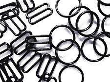 Black Bra Strap Adjusters 20 Sets=20 Rings+20 Sliders 20 mm AccessoriesSolutions