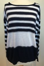 DAVID LAWRENCE Navy White Mixed Stripe Cotton Linen Long Sleeve Fine Knit Top M