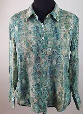 44a6f5fb8a3c2 Talbots Woman Petites Pure Silk Reptile Print Blouse Career Size 14W Petite