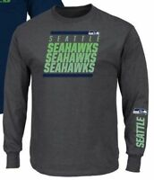 Seattle Seahawks Gray Adult Long Sleeve Majestic T-Shirt - Free Shipping! - XXL
