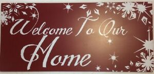 """Red And White Welcome To Our Home Painted Wood Sign 12"""" x 5.5"""" FoundArtShop.com"""