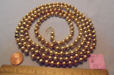 "Christmas Garland Mercury Glass Antique Gold 52"" Long 5/16"" Beads Tom3 Vintage"