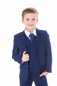 Boys Blue Suits Royal Blue Suit Navy Formal Wedding PageBoy Party Prom 5pc Suit
