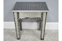 Mirrored Embossed Side Table