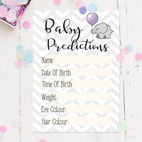 Baby Shower Prediction Cards Keepsake New Mum To Be Boy Girl Unisex Design Grey