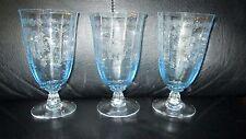 "Set of 3 Fostoria Navarre Blue Crystal Iced Tea  Glasses 5 7/8""  Etched Ice 6"""