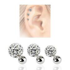 LOT 3 Surgical Steel Ear Cartilage Earring Ring Disco Clear Crystal Ball 16G