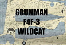 "Model Airplane Plans (UC): F4F-3 Wildcat 1/12 Scale 38"" for .29-.60 (Musciano)"