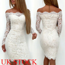 UK Womens Bodycon Bandage Evening Party Dress Ladies Formal Wedding Lace Dress