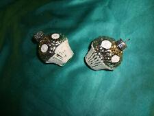 GDR Christbaumschmuck 2 alte DDR Körbe Korb Körbchen silber weiß Blumenkörbchen