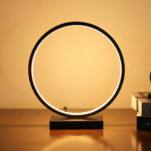 Bedroom Night LED Table Lamp Modern Circle LED Dimmable Lamp Round Table Lamp