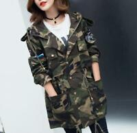 2018 Women Camouflage long jacket coat army military parkas outwear trench