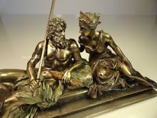 * KING ZEUS GOD OF THUNDER & HERA GREEK MYTHOLOGY Sculpture Statue Bronze Finish