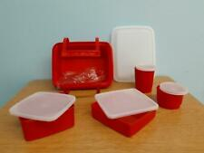 Tupperware Red Pack N' Carry Lunch Box, Sheer Lids, 11 Pcs, 311, 670, 1251, 1229
