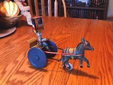 VINTAGE RARE GAMA TIN DONKEY PULLING CLOWN ON CART, LEVER ACTION WIND UP