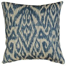 "Textured Linen Blend Abstract Ikat Cushion in Marine Blue. 17x17"". Double Sided."